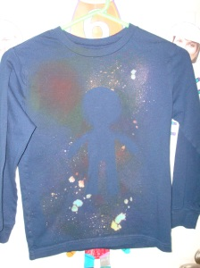 decorated this shirt for my son...do you see the astronaut's shadow?