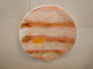 Jupiter.  Done on a coffee filter with water soluble markers