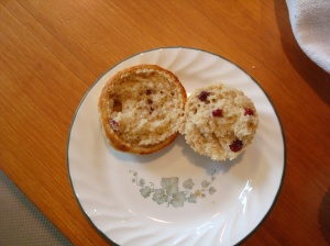 today's muffin was pecan cranberry-banana