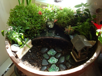 Re-did the fairy garden that mom gave me a couple of years ago