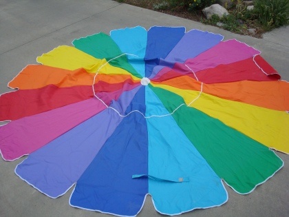 former umbrella made into a picnic blanket