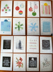 a sampling of the simple holiday cards I made