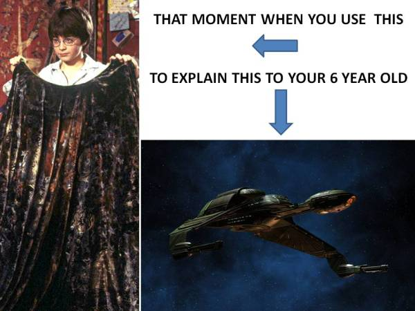 (for non-geeks...explanation of a cloaking Klingon bird of prey)