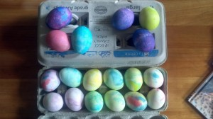Top eggs were colored with direct application of food coloring.  Bottom eggs were done using the shaving cream technique.  Next year, we'll use whipped cream for this.