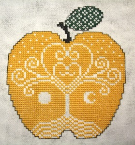 Idun's apple, designed and stitched my little ol' me.