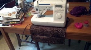Sewing caddy is made from 2 placemats that I got at a thrift store.